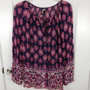 Lucky Brand Red Floral Chiffon Boho Blouse Size S